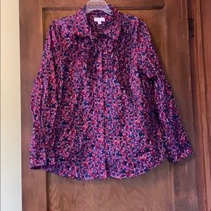 Charter club 18w  purple floral button down